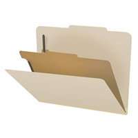 "Classification File Folder w/Fasteners 18 point 1 Divider 2"" Expansion Letter Manila 10/Box"