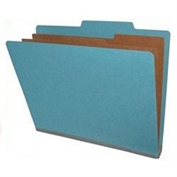 "Pressboard Classification Folders, 2/5-Cut, Letter Size, 2"" Exp, 2 Dividers, Type III Blue, 10/Box"