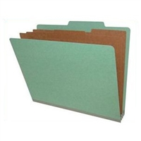 "Pressboard Classification Folders, 2/5-Cut, Letter Size, 3"" Exp, 3 Dividers, Type II Green, 10/Box"