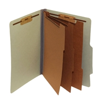 "Pressboard Classification Folders, 2/5-Cut, Letter Size, 3"" Exp, 3 Dividers, Type II Gray/Green, 10/Box"