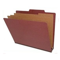 "Pressboard Classification Folders, 2/5-Cut, Letter Size, 3"" Exp, 3 Dividers, Type II Red, 10/Box"