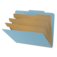 "Pressboard Classification Folders, 2/5-Cut, Letter Size, 3"" Exp, 3 Dividers, Type III Blue, 10/Box"