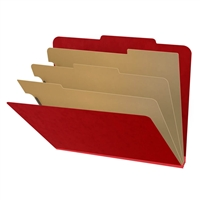 "Pressboard Classification Folders, 2/5-Cut, Letter Size, 3"" Exp, 3 Dividers, Type III Deep Red, 10/Box"