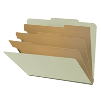 "Pressboard Classification Folders, 2/5-Cut, Letter Size, 3"" Exp, 3 Dividers, Type III Green, 10/Box"