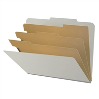 "Pressboard Classification Folders, 2/5-Cut, Letter Size, 3"" Exp, 3 Dividers, Type III Gray, 10/Box"
