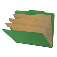 "Pressboard Classification Folders, 2/5-Cut, Letter Size, 3"" Exp, 3 Dividers, Type III Moss Green, 10/Box"
