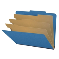 "Pressboard Classification Folders, 2/5-Cut, Letter Size, 3"" Exp, 3 Dividers, Type III Royal Blue, 10/Box"