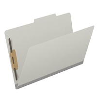 "Pressboard Folders, Top Tab, Legal Size, 2"" Exp, 2 Fasteners, No Dividers, Type III Gray, 25/Box"