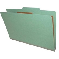 "Pressboard Classification Folders, 2/5-Cut, Legal Size, 2"" Exp, 1 Divider, Type II Green, 10/Box"