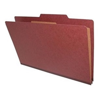 "Pressboard Classification Folders, 2/5-Cut, Legal Size, 2"" Exp, 1 Divider, Type II Red, 10/Box"