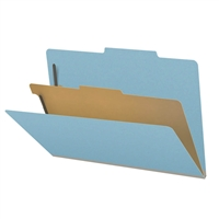 "Pressboard Classification Folders, 2/5-Cut, Legal Size, 2"" Exp, 1 Divider, Type III Blue, 10/Box"