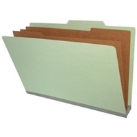 "Pressboard Classification Folders, 2/5-Cut, Legal Size, 3"" Exp, 3 Dividers, Type III Gray, 10/Box"