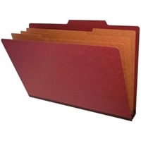 "Pressboard Classification Folders, 2/5-Cut, Legal Size, 3"" Exp, 3 Dividers, Type III Red, 10/Box"