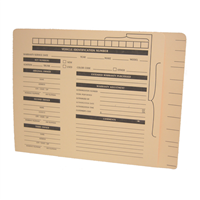 Vehicle Service Folders, Letter Size, End Tab, Pre-Printed, 14pt Manila