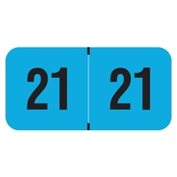 PMA Compatible Year Labels, 2021, Fluorescent Blue, 3/4 x 1-1/2, 500/RL