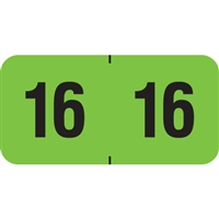 PMA Compatible Year Labels, 2016, Fluorescent Green, 3/4 x 1-1/2, 500/Roll