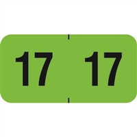 PMA Compatible Year Labels, 2017, Fluorescent Green, 3/4 x 1-1/2, 500/Roll