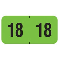 PMA Compatible Year Labels, 2018, Fluorescent Green, 3/4 x 1-1/2, 500/Roll
