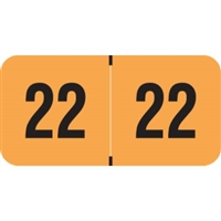 PMA Compatible Year Labels, 2022, Fluorescent Orange, 3/4 x 1-1/2, 500/RL
