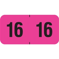 PMA Compatible Year Labels, 2016, Fluorescent Pink, 3/4 x 1-1/2, 500/Roll