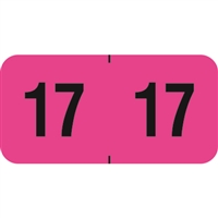 PMA Compatible Year Labels, 2017, Fluorescent Pink, 3/4 x 1-1/2, 500/Roll