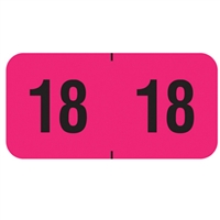 PMA Compatible Year Labels, 2018, Fluorescent Pink, 3/4 x 1-1/2, 500/Roll