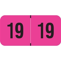 PMA Compatible Year Labels, 2019, Fluorescent Pink, 3/4 x 1-1/2, 500/RL