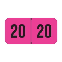 PMA Compatible Year Labels, 2020, Fluorescent Pink, 3/4 x 1-1/2, 500/RL