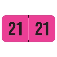 PMA Compatible Year Labels, 2021, Fluorescent Pink, 3/4 x 1-1/2, 500/RL