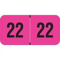 PMA Compatible Year Labels, 2022, Fluorescent Pink, 3/4 x 1-1/2, 500/RL