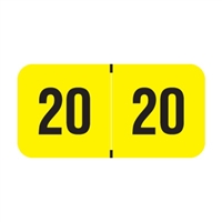 PMA Compatible Year Labels, 2020, Fluorescent Yellow, 3/4 x 1-1/2, 500/RL