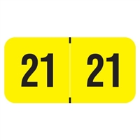 PMA Compatible Year Labels, 2021, Fluorescent Yellow, 3/4 x 1-1/2, 500/RL