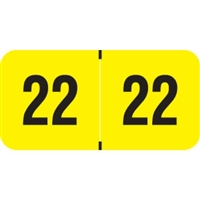 PMA Compatible Year Labels, 2022, Fluorescent Yellow, 3/4 x 1-1/2, 500/RL