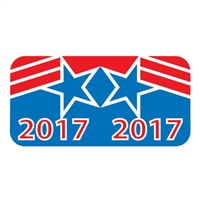 Patriot Year Labels, 2017, Red/Blue, 3/4 x 1-1/2, 500/Roll