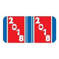 Patriot Year Labels, 2018, Red/Blue, 3/4 x 1-1/2, 500/Roll
