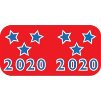 Patriot Year Labels, 2020, Red/Blue, 3/4 x 1-1/2, 500/RL