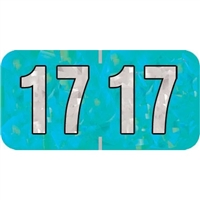 PMA Compatible Year Labels, 2014, Holographic Aqua, 3/4 x 1-1/2, 500/Roll