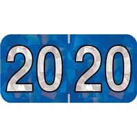 PMA Compatible Year Labels, 2020, Holographic Blue, 3/4 x 1-1/2, 500/RL