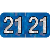 PMA Compatible Year Labels, 2021, Holographic Blue, 3/4 x 1-1/2, 500/RL