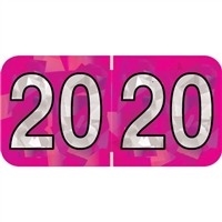 PMA Compatible Year Labels, 2020, Holographic Fuchsia, 3/4 x 1-1/2, 500/RL