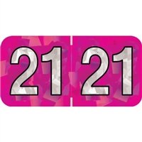 PMA Compatible Year Labels, 2021, Holographic Fuchsia, 3/4 x 1-1/2, 500/RL