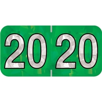 PMA Compatible Year Labels, 2020, Holographic Green, 3/4 x 1-1/2, 500/RL