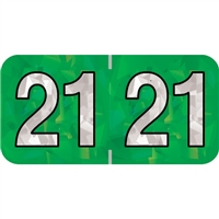 PMA Compatible Year Labels, 2021, Holographic Green, 3/4 x 1-1/2, 500/RL