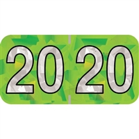 PMA Compatible Year Labels, 2020, Holographic Lime, 3/4 x 1-1/2, 500/RL