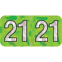 PMA Compatible Year Labels, 2021, Holographic Lime, 3/4 x 1-1/2, 500/RL