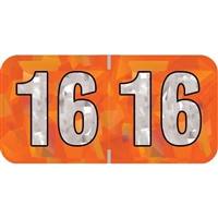 PMA Compatible Year Labels, 2016, Holographic Orange, 3/4 x 1-1/2, 500/Roll