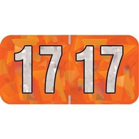 PMA Compatible Year Labels, 2017, Holographic Orange, 3/4 x 1-1/2, 500/Roll