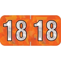 PMA Compatible Year Labels, 2018, Holographic Orange, 3/4 x 1-1/2, 500/Roll