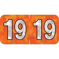 PMA Compatible Year Labels, 2019, Holographic Orange, 3/4 x 1-1/2, 500/RL