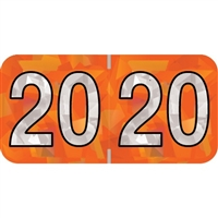 PMA Compatible Year Labels, 2020, Holographic Orange, 3/4 x 1-1/2, 500/RL